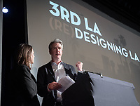 "Occidental College's 3rd LA (Re)Designing LA series kicks off for this year at the Barnsdall Gallery Theater, next door to Frank Lloyd Wright's 1921 Hollyhock House, on March 6, 2019. Hosted by Oxy Professor of Practice and Chief Design Officer for the City of Los Angeles Christopher Hawthorne, guest speakers and panelists discussed ""Is There an L.A. Sensibility? Place and Politics in Los Angeles Design.""<br /> 3rd LA is co-sponsored by Occidental, the Mayor's Office and the Los Angeles Department of Cultural Affairs.<br /> (Photo by Marc Campos, Occidental College Photographer)"