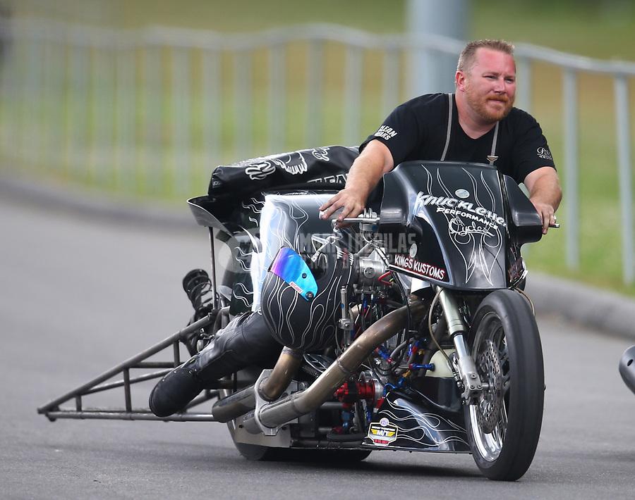 Jun 17, 2017; Bristol, TN, USA; NHRA top fuel nitro Harley Davidson motorcycle rider Jake Stordeur during qualifying for the Thunder Valley Nationals at Bristol Dragway. Mandatory Credit: Mark J. Rebilas-USA TODAY Sports