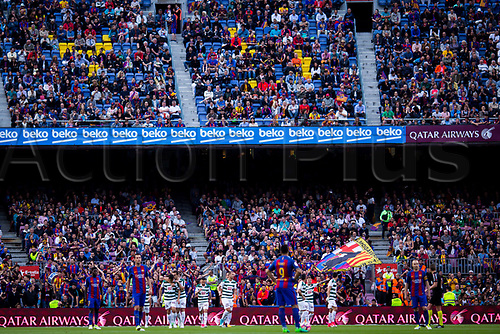 May 21st 2017, Nou Camp, Barcelona, Spain; La Liga football, FC Barcelona versus Eibar; Eibar team celebrates their goal for 0-1 when Junca of Eiber scored an own goal for 1-2