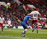 Sheffield United v Gillingham .Sky Bet League 1 ....... uniteds Bill Sharp heads past defender Ryan Jackson