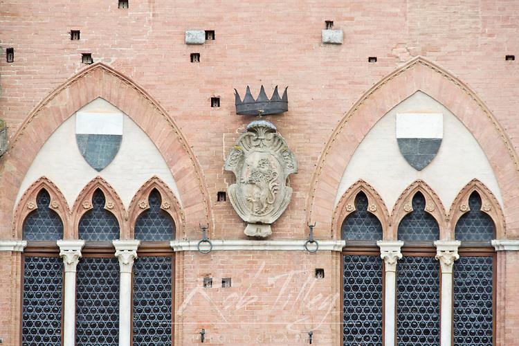Europe, Italy, Tuscany, Siena, Palazzo Pubblico (City Hall) Detail