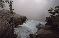 Nevada Fall and Mist. From the top of the Mist trail on a foggy day.