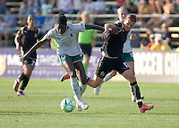 Tina Ellertson (left) and Christine Sinclair (right) battle for the ball. FC Gold Pride tied the St. Louis Athletica 1-1 at Buck Shaw Stadium in Santa Clara, California on August 9, 2009.