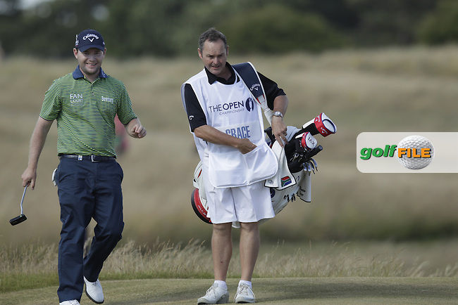 Branden GRACE (RSA) and caddie Billy Foster during round one of  The 142th Open Championship Muirfield, Gullane, East Lothian, Scotland 18/7/2013<br /> Picture Eoin Clarke www.golffile.ie: