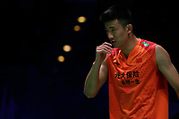 13th March 2020, Arena Birmingham, Birmingham, UK;  Chinas Chen Long reacts during the mens singles quarterfinal match with Malaysia s Lee Zii Jia at the All England Open Badminton Championships in Birmingham