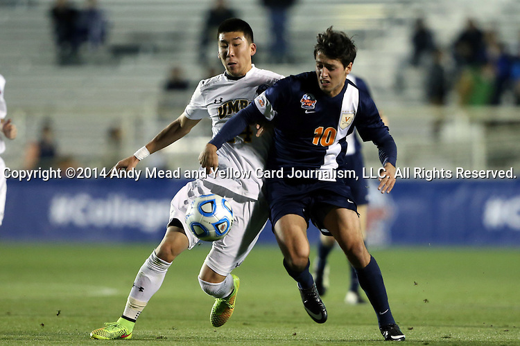 12 December 2014: Virginia's Nick Corriveau (10) and UMBC's Stephen Ho (left). The University of Virginia Cavaliers played the University of Maryland Baltimore County Retrievers at WakeMed Stadium in Cary, North Carolina in a 2014 NCAA Division I Men's College Cup semifinal match. Virginia won the game 1-0.
