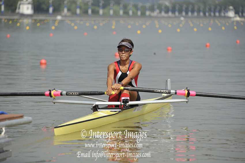 Chungju, South Korea.    SIN LW1X Aisyah SAIYIDAH. ) moves away from the start, Semi final A/B.  2013 Rowing Championships, Tangeum Lake, International Regatta Course.  Sunday  25/08/2013 [Mandatory Credit. Peter Spurrier/Intersport Images]