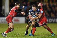 Sam Underhill of Bath Rugby takes on the Sale Sharks defence. Gallagher Premiership match, between Bath Rugby and Sale Sharks on December 2, 2018 at the Recreation Ground in Bath, England. Photo by: Patrick Khachfe / Onside Images