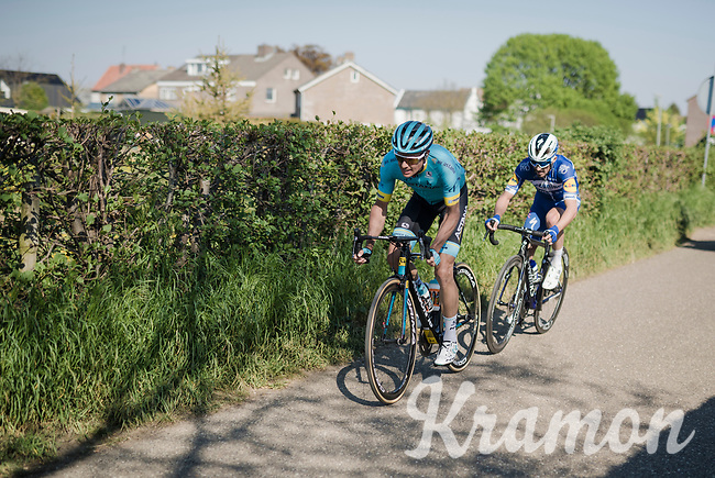 race leaders Jakob FUGLSANG (DEN/Astana) & Julian ALAPHILIPPE (FRA/Deceuninck-Quick Step) up the Keutenberg<br /> <br /> 54th Amstel Gold Race 2019 (1.UWT)<br /> One day race from Maastricht to Berg en Terblijt (NED/266km)<br /> <br /> ©kramon