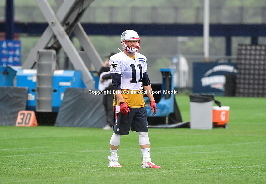 Wednesday, July 27, 2016: New England Patriots wide receiver Julian Edelman (11) waits for the start of a drill at a joint training camp practice between New England Patriots and  the New Orleans Saints  training camp held Gillette Stadium in Foxborough Massachusetts. Eric Canha/CSM