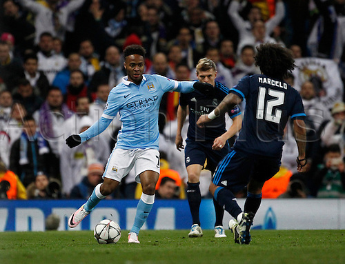 26.04.2016. The Etihad, Manchester, England. UEFA Champions League. Manchester City versus Real Madrid. Late substitute Manchester City striker Raheem Sterling runs at Real Madrid defender Marcelo.