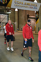 Houston, TX - Tuesday June 21, 2016: Brad Guzan, Tim Howard, United States arriving prior to a Copa America Centenario semifinal match between United States (USA) and Argentina (ARG) at NRG Stadium.
