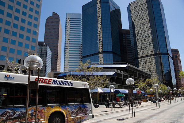 Bus on the 16th Street Mall, Denver, Colorado, USA John offers private photo tours of Denver, Boulder and Rocky Mountain National Park. .  John offers private photo tours in Denver, Boulder and throughout Colorado. Year-round Colorado photo tours.