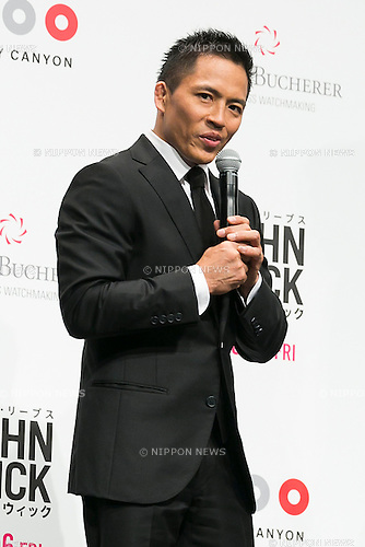 Japanese Judo Gold Medalist Tadahiro Nomura speaks during the Japanese premiere for the film John Wick on September 30, 2015, Tokyo, Japan. The movie will be released in Japanese theatres on October 16. (Photo by Rodrigo Reyes Marin/AFLO)