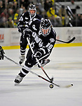 1 February 2008: University of New Hampshire Wildcats' forward Greg Manz, a Freshman from Wayne, PA, takes a shot on net against the University of Vermont Catamounts at Gutterson Fieldhouse in Burlington, Vermont. The seventh-ranked Wildcats defeated the Catamounts 5-1in front of a sellout crowd of 4,003...Mandatory Photo Credit: Ed Wolfstein Photo