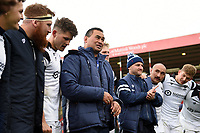 Bristol Bears Head Coach Pat Lam speaks to his players in a post-match huddle. Gallagher Premiership match, between Leicester Tigers and Bristol Bears on April 27, 2019 at Welford Road in Leicester, England. Photo by: Patrick Khachfe / JMP
