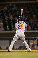 Scottsdale Scorpions catcher Ali Sanchez (25), of the New York Mets organization, at bat during an Arizona Fall League game against the Mesa Solar Sox at Sloan Park on October 10, 2018 in Mesa, Arizona. Scottsdale defeated Mesa 10-3. (Zachary Lucy/Four Seam Images)