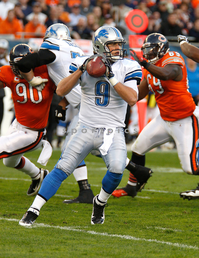 MATTHEW STAFFORD, of the Detroit Lions, in action during the Lions game against the Chicago Bears on November 13, 2011 at Soldier Field in Chicago, IL. The Bears beat the Lions 37-13.