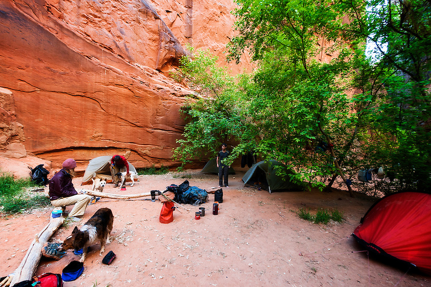 Campers spread out for a night near the confluence of Buckskin Gulch and the Paria River in southern Utah.