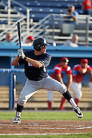 Newark Pilots, of the Perfect Game Collegiate Baseball League, outfielder Sean Osterman #9 during an exhibition game against the Batavia Muckdogs at Dwyer Stadium on June 15, 2012 in Batavia, New York.  Batavia defeated Newark 8-0.  (Mike Janes/Four Seam Images)
