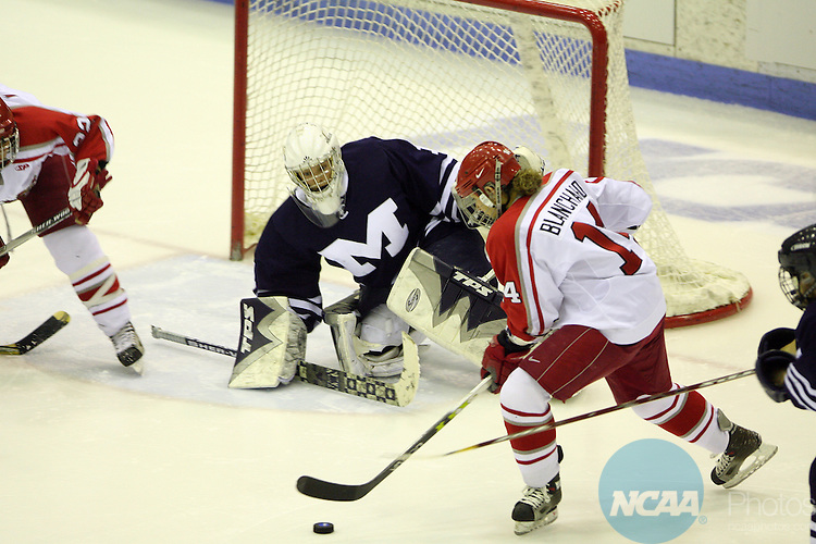 17 MAR 2007:  Middlebury College's Lani Wright (1) prepares for a shot by Plattsburgh State's Danielle Blanchard (14) during the Division III Women's Ice Hockey Championship held at the Stafford Arena on the Plattsburgh State University campus in Plattsburgh, N.Y.  Todd Bissonette/NCAA Photos