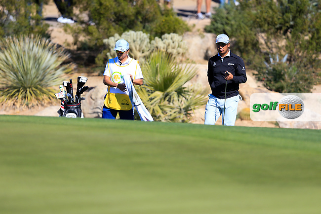 Hideki Matsuyama (JPN) on the 5th during the 2nd round of the Waste Management Phoenix Open, TPC Scottsdale, Scottsdale, Arisona, USA. 01/02/2019.<br /> Picture Fran Caffrey / Golffile.ie<br /> <br /> All photo usage must carry mandatory copyright credit (&copy; Golffile | Fran Caffrey)
