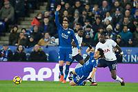 Moussa Sissoko of Tottenham fouls Shinji Okazaki of Leicester City during the Premier League match between Leicester City and Tottenham Hotspur at the King Power Stadium, Leicester, England on 28 November 2017. Photo by James Williamson / PRiME Media Images.
