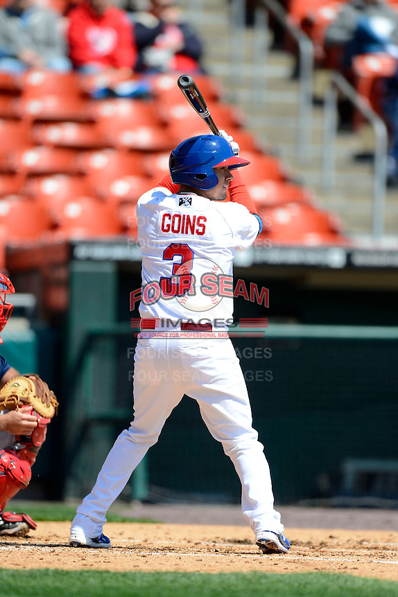 Buffalo Bisons shortstop Ryan Goins #3 during the first game of a doubleheader against the Pawtucket Red Sox on April 25, 2013 at Coca-Cola Field in Buffalo, New York.  Pawtucket defeated Buffalo 8-3.  (Mike Janes/Four Seam Images)