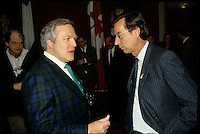 circa 1988 file Photo --Marcel Aubut,<br /> and Robert Bourassa, quebec Premier (R)