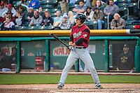 John Bowker (23) of the Sacramento River Cats at bat against the Salt Lake Bees in Pacific Coast League action at Smith's Ballpark on April 17, 2015 in Salt Lake City, Utah.  (Stephen Smith/Four Seam Images)