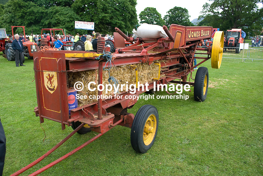 Jones Baler on display at Kilbroney, Rostrevor, Co Down, N Ireland, UK, at annual vintage and veteran old vehicle event. 200906202567..Copyright Image from Victor Patterson, 54 Dorchester Park, Belfast, UK, BT9 6RJ..Tel: +44 28 9066 1296.Mob: +44 7802 353836.Voicemail +44 20 8816 7153.Skype: victorpattersonbelfast.Email: victorpatterson@mac.com.Email: victorpatterson@ireland.com (back-up)..IMPORTANT: If you wish to use this image or any other of my images please go to www.victorpatterson.com and click on the Terms & Conditions. Then contact me by email or phone with the reference number(s) of the image(s) concerned.