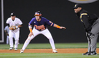Catcher Spencer Kieboom (22) of the Clemson Tigers takea a lead off second base in a game against the South Carolina Gamecocks on Tuesday, March 8, 2011, at Fluor Field in Greenville, S.C.  Photo by Tom Priddy / Four Seam Images