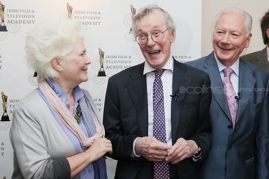 22/9/2010. Cathal O'Shannon - A Life in Television.  Fionnula Flanagan and Gay Byrne share a joke with Cathal O'Shannon at the Conrad Hotel Dublin for the IFTA Tribute event Cathal O'Shannon- A life in Television. Picture James Horan/Collins Photos