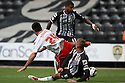 Michael Doughty of Stevenage (on loan from QPR) is tackled by Gary Liddle of Notts County<br />  - Notts County v Stevenage - Sky Bet League One - Meadow Lane, Nottingham - 24th August 2013<br /> © Kevin Coleman 2013