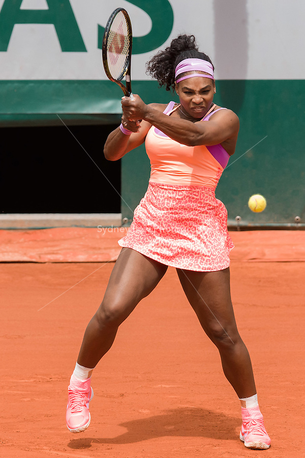 May 28, 2015: Serena WILLIAMS of United States of America in action in a 2nd round match against Anna-Lena Friedsam of Germany on day five of the 2015 French Open tennis tournament at Roland Garros in Paris, France. Sydney Low/AsteriskImages