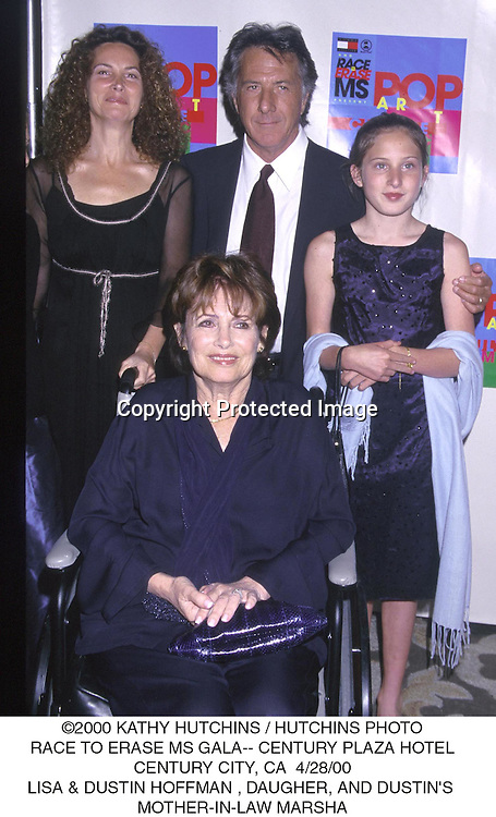 ©2000 KATHY HUTCHINS/HUTCHINS PHOTO.RACE TO ERASE MS GALA-CENTURY PLAZA HOTEL.CENTURY CITY, CA 4/28/00.LISA & DUSTIN HOFFMAN , DAUGHER  AND DUSTIN'S.MOTHER IN LAW MARSHA