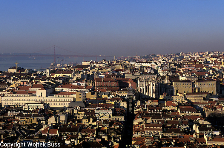 Portugal,Lisbon,View from the  Castelo Sao Jorge,Baixa and Chiado District