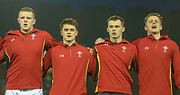 Wales U20's players sing the national anthem<br /> <br /> Photographer Alex Dodd/CameraSport<br /> <br /> RBS Six Nations U20 Championship Round 4 - Wales U20s v Ireland U20s - Saturday 11th March 2017 - Parc Eirias, Colwyn Bay, North Wales<br /> <br /> World Copyright &copy; 2017 CameraSport. All rights reserved. 43 Linden Ave. Countesthorpe. Leicester. England. LE8 5PG - Tel: +44 (0) 116 277 4147 - admin@camerasport.com - www.camerasport.com