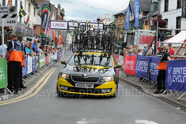 """One of the emergency replacement cycle vehicles during the Abergavenny Festival of Cycling """"Grand Prix of Wales"""" race on Sunday 17th 2016<br /> <br /> <br /> Jeff Thomas Photography -  www.jaypics.photoshelter.com - <br /> e-mail swansea1001@hotmail.co.uk -<br /> Mob: 07837 386244 -"""