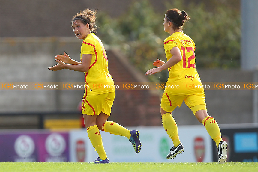 Fara Williams of Liverpool Ladies (L) celebrates scoring the first goal for her team - Arsenal Ladies vs Liverpool Ladies - FA Womens Super League Football at Meadow Park, Boreham Wood FC  - 05/10/14 - MANDATORY CREDIT: Gavin Ellis/TGSPHOTO - Self billing applies where appropriate - contact@tgsphoto.co.uk - NO UNPAID USE