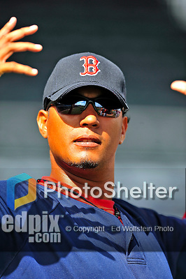 14 March 2009: Boston Red Sox' pitcher Felix Doubront looks out from the dugout prior to a Spring Training game against the Baltimore Orioles at Fort Lauderdale Stadium in Fort Lauderdale, Florida. The Orioles defeated the Red Sox 9-8 in the Grapefruit League matchup. Mandatory Photo Credit: Ed Wolfstein Photo