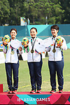 (L-R) <br /> Kaori Kawanaka, <br />  Ayano Kato, <br />  Tomomi Sugimoto (JPN), <br /> AUGUST 27, 2018 - Archery : <br /> Women's Recurve Team Medal ceremony <br /> at Gelora Bung Karno Archery Field <br /> during the 2018 Jakarta Palembang Asian Games <br /> in Jakarta, Indonesia. <br /> (Photo by Naoki Morita/AFLO SPORT)