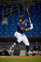 Lake County Captains right fielder Will Benson (29) at bat during the second game of a doubleheader against the South Bend Cubs on May 16, 2018 at Classic Park in Eastlake, Ohio.  Lake County defeated South Bend 5-2.  (Mike Janes/Four Seam Images)