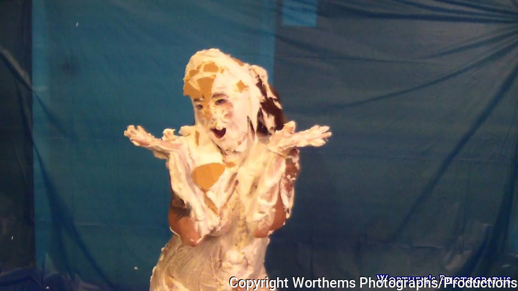 """Angel Rose celebrates a very special day 3.14 which stands for """"Pi"""" which means """"Pi Day"""" by getting covered in whipped cream pies."""