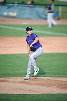 Grand Junction Rockies starting pitcher Andrew Quezada (17) delivers a pitch to the plate against the Ogden Raptors at Lindquist Field on June 14, 2019 in Ogden, Utah. The Raptors defeated the Rockies 12-0. (Stephen Smith/Four Seam Images)