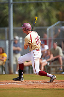 Boston College Eagles first baseman Mitch Bigras (28) at bat during a game against the Central Michigan Chippewas on March 8, 2016 at North Charlotte Regional Park in Port Charlotte, Florida.  Boston College defeated Central Michigan 9-3.  (Mike Janes/Four Seam Images)