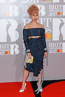 www.acepixs.com<br /> <br /> February 22 2017, London<br /> <br /> Raye arriving at The BRIT Awards 2017 at The O2 Arena on February 22, 2017 in London, England.<br /> <br /> By Line: Famous/ACE Pictures<br /> <br /> <br /> ACE Pictures Inc<br /> Tel: 6467670430<br /> Email: info@acepixs.com<br /> www.acepixs.com