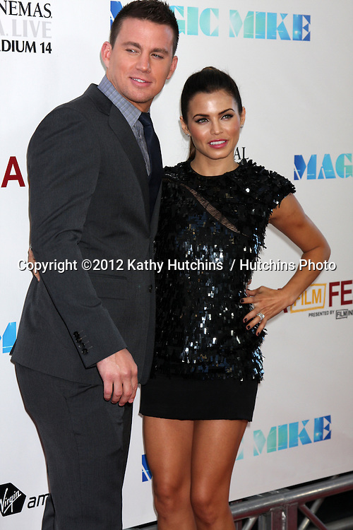 "LOS ANGELES - JUN 24:  Channing Tatum, Jenna Dewan Tatum arrives at the ""Magic Mike"" LAFF Premiere at Regal Cinema at LA Live on June 24, 2012 in Los Angeles, CA"