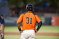 AZL Giants center fielder Heliot Ramos (31) stands on first base after hitting a single against the AZL Padres 2 on July 13, 2017 at Scottsdale Stadium in Scottsdale, Arizona. AZL Giants defeated the AZL Padres 2 11-3. (Zachary Lucy/Four Seam Images)