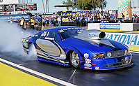 Feb. 22, 2013; Chandler, AZ, USA; NHRA pro stock driver Mark Wolfe during qualifying for the Arizona Nationals at Firebird International Raceway. Mandatory Credit: Mark J. Rebilas-